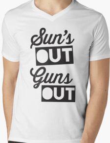 Suns Out Guns Out Mens V-Neck T-Shirt