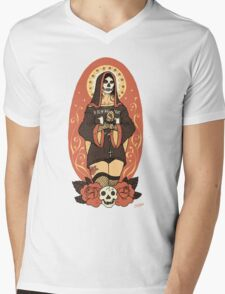 Santa Muerte Mens V-Neck T-Shirt