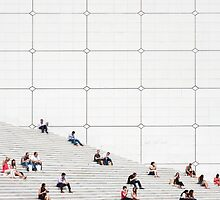 Le Grande Arche steps Paris  by Cecily  Graham