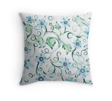 Blue wild flowers artistic floral blues Throw Pillow