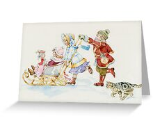 children play in winter Greeting Card