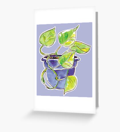 Watercolor Potted Purple Philodendron  Greeting Card