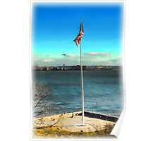 Flag Over Ellis Island Poster