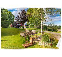 Wooden Carriage and Swedish Farmhouse Poster