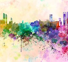 Abu Dhabi skyline in watercolor background by Pablo Romero