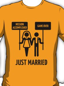 Just Married – Mission Accomplished – Game Over (Black) T-Shirt