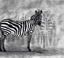 The Zebra - Chalk And Charcoal by MJ-Tibor