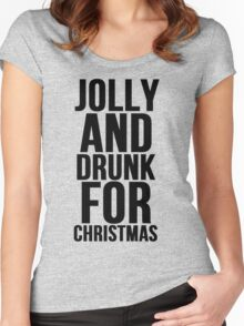JOLLY AND DRUNK FOR CHRISTMAS Women's Fitted Scoop T-Shirt
