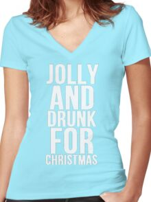 JOLLY AND DRUNK FOR CHRISTMAS Women's Fitted V-Neck T-Shirt