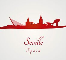 Seville skyline in red by Pablo Romero