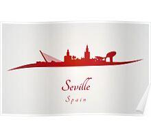 Seville skyline in red Poster