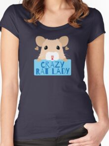 CUTE crazy rat lady (in cream colour) Women's Fitted Scoop T-Shirt