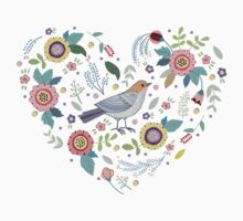 Romantic bird with flowers in vintage style Kids Clothes