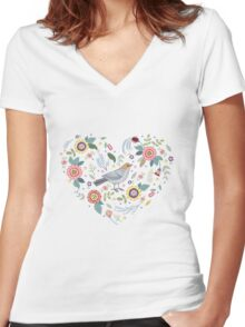 Romantic bird with flowers in vintage style Women's Fitted V-Neck T-Shirt