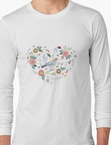 Romantic bird with flowers in vintage style Long Sleeve T-Shirt
