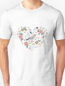 Romantic bird with flowers in vintage style Unisex T-Shirt