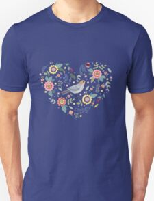 Romantic bird with flowers in vintage style T-Shirt