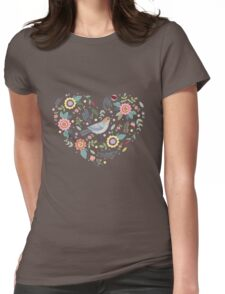 Romantic bird with flowers in vintage style Womens Fitted T-Shirt