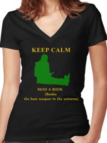 KEEP CALM & read a book Women's Fitted V-Neck T-Shirt