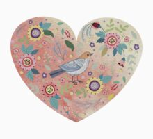 Romantic heart  bird and flowers by Anna  Yudina