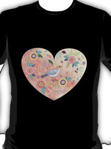 Romantic heart  bird and flowers T-Shirt