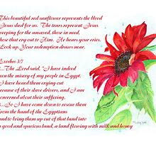 Jesus Wept Red Sunflower by Linda Ginn Art