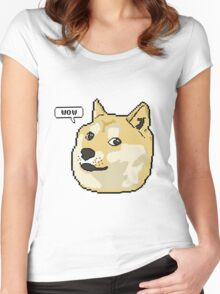 wow pixel shibe doge Women's Fitted Scoop T-Shirt