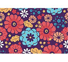 Colorful bouquet flowers pattern Photographic Print