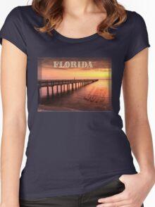 Sunset/sundusk over harbor Women's Fitted Scoop T-Shirt