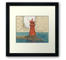 Gary Harbor Lighthouse IN Nautical Chart Cathy Peek Framed Print