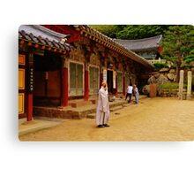 Korean Monk on Cell Phone Canvas Print