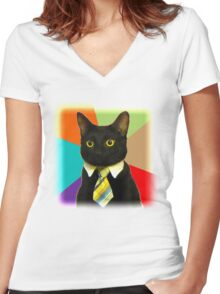 Business Cat Women's Fitted V-Neck T-Shirt