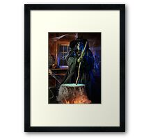 Scary Old Witch with a Cauldron art photo print Framed Print