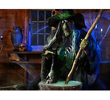 Scary Old Witch with a Cauldron art photo print Photographic Print