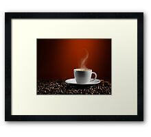 Cup of Coffe Latte on Coffee Beans art photo print Framed Print