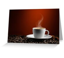 Cup of Coffe Latte on Coffee Beans art photo print Greeting Card