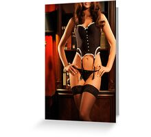 Sexy Young Woman in Black Lingerie art photo print Greeting Card