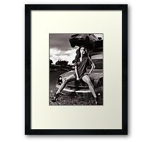 Young Woman Sitting on a Crashed Car art photo print Framed Print