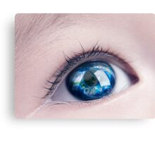 Child eye with world map reflecting in it art photo print Canvas Print