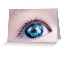 Child eye with world map reflecting in it art photo print Greeting Card
