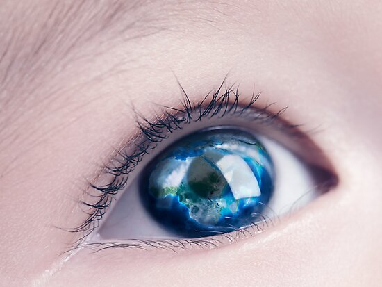 Child eye with world map reflecting in it art photo print by ArtNudePhotos