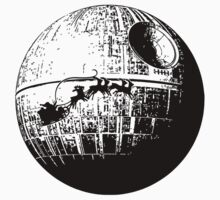 Santa flying past the death star by printproxy