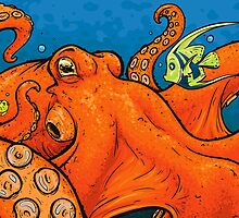 An Enormous Orange Octopus by embiearts