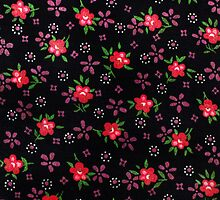 folk fabric- floral (red) by Sassee