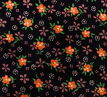 folk fabric- floral (orange) by Sassee
