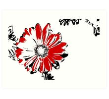 Gerbera - Black White And Red Series Art Print