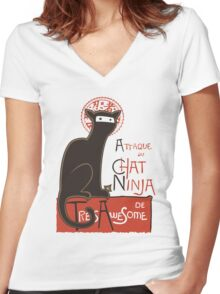 A French Ninja Cat (Le Chat Ninja) Women's Fitted V-Neck T-Shirt