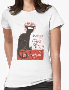 A French Ninja Cat (Le Chat Ninja) Womens Fitted T-Shirt
