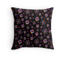 Rainbow Petals in Black II Throw Pillow