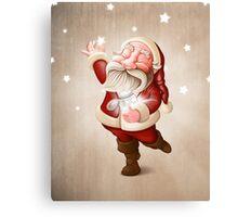 Santa Claus collects stars Canvas Print